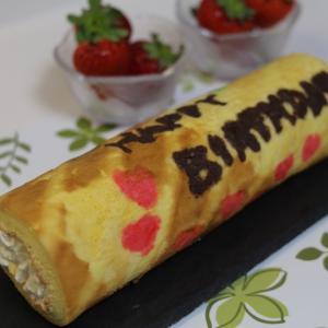 誕生日パータデコールロールケーキを作りました#パータデコール #誕生日ケーキ #あま...