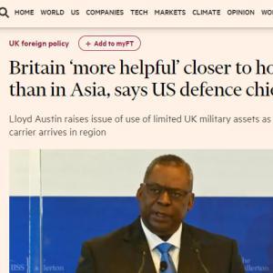 UKは、アジアにいるより家にいて by 米国防長官