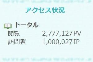 ご訪問者数100万人達成