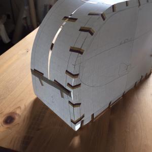 新作ポーチの型紙作り、やっと終了