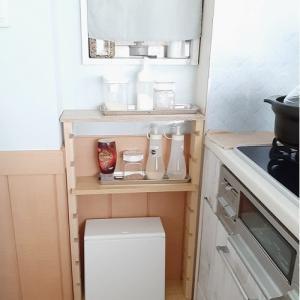 キッチンに棚◆汚れ防止にクリアファイル