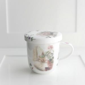 【ポーセラーツ】生徒さま作品 動物が愛らしい♡蓋つきマグカップ