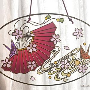 Myグラスアート作品♡ 扇桜のオーナメント