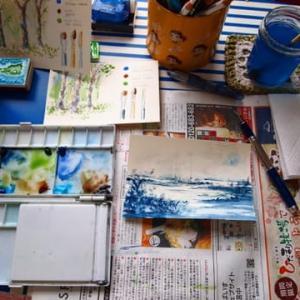 藍色の風景練習(パクり絵)