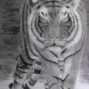 厚麻紙に虎