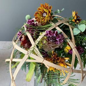 夏のお花と異素材