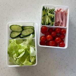 【キャンドゥ】カット野菜をまとめて保存できるシンプルなタッパー
