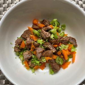 手作り犬ごはん〜牛肉と野菜を炒めて