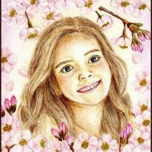 色鉛筆画514 (十月桜と女の子)