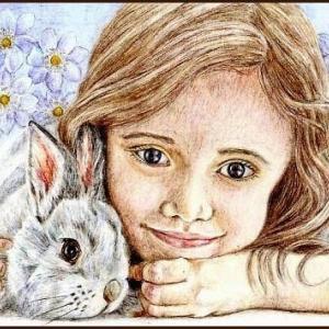 色鉛筆画530 (女の子とうさぎ)