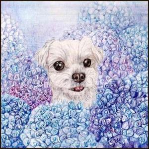 色鉛筆画539 (紫陽花と犬)