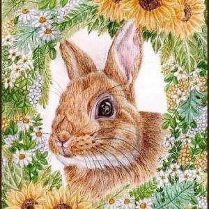 色鉛筆画542 (うさぎと花)