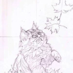 途中経過1 下描き1(紅葉と猫)