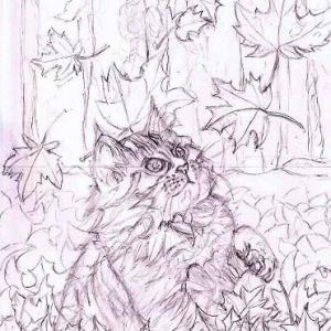 途中経過2 下描き2(紅葉と猫)