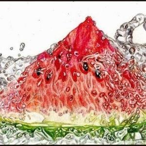 色鉛筆画・スイカと水しぶき