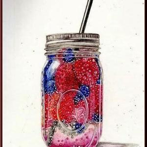 色鉛筆画・ベリーの炭酸水