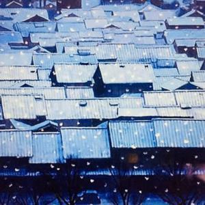 見ることのできない雪の京都の家並み。