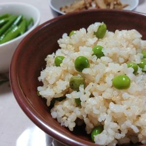 実エンドウ初収穫de豆ごはんの節約お弁当~♪