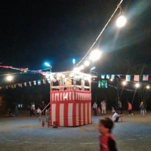 台風10号の接近で、盆踊り大会が短縮開催でした。