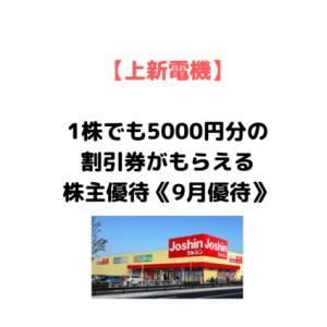 【1株で5000円分の株主優待】上新電機(8173)の9月優待が魅力的