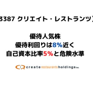 【優待利回りは8%】株主優待人気株のクリエイト・レストランツへの投資をどう考える?