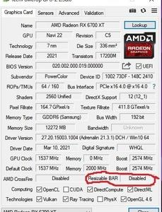 AMD Radeon RX6700XT搭載 PowerColor Hellhound AXRX 6700XT 12GBD6-3DHL GDDR6 12GB購入 その3 大問題発生もそのままResizable BAR設定