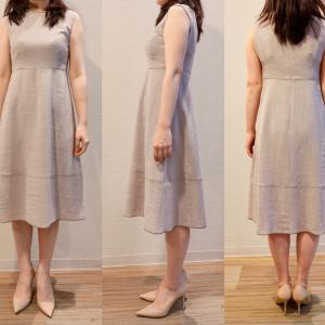 サマードレス、ミディ丈のサイズ感。