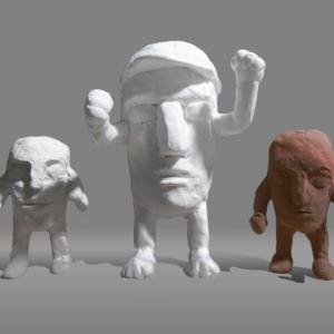 【彫刻家 日本】「頭足人君 運動会」【樹脂粘土彫刻】