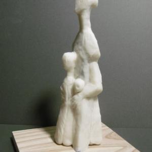 【日本 彫刻家】「王妃と子供達」【樹脂粘土】