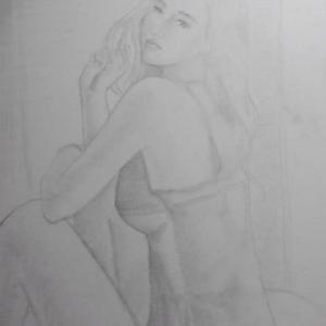 【デッサン・絵画】「薄着の女」【鉛筆】