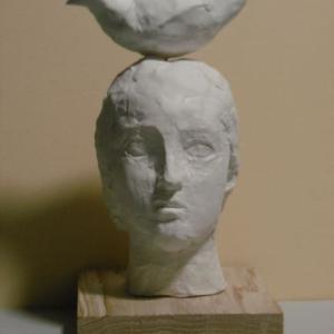 【石塑粘土作品】「鳥と少女」