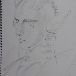 【デッサン・絵画】「アンドロイド」【ペン・色鉛筆】
