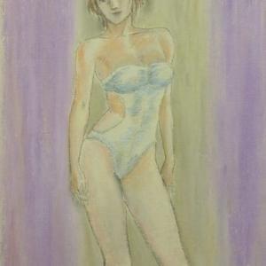 【デッサン・絵画】「水着の女」【オイルパステル】