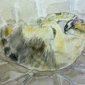 【デッサン・絵画】「遊ぶ猫」