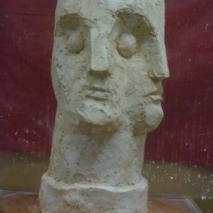【石膏直付け抽象彫刻】「二面像」