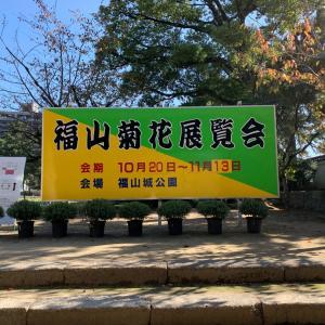 秋空の青空と福山城と匠の技『菊』編