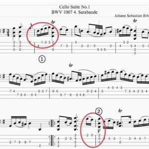 Bach無伴奏チェロ組曲1番サラバンデ・タブ譜で考える