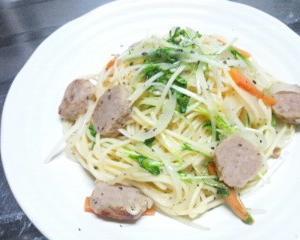 水菜と鶏肉のスパゲッティ