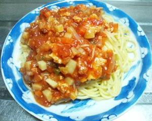 トマトソースかけスパゲッティの日