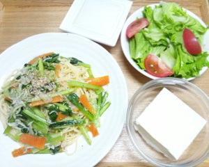 『小松菜とシラスのパスタ』のセット
