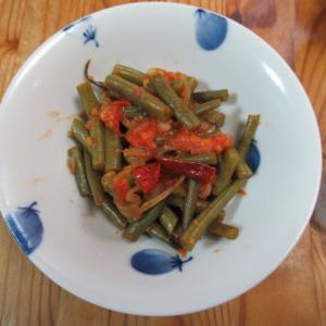 サヤインゲンのトマト炊き
