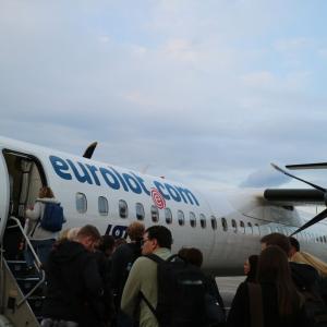 プロペラ機でワルシャワからハンブルクへ