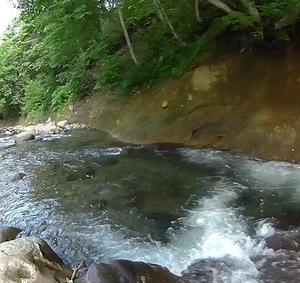 猛暑の中、浜益北部の渓流でヤマメを狙う