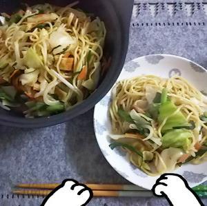 最近の食事(焼きそば)&コーヒーカップ&モフ猫男爵