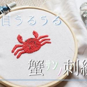 うるうるお目目の蟹さんの刺繍【夏のワンポイントステッチ】チェーンステッチ☆糸が短くなった時のつなぎ方☆動画