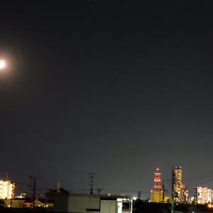 【静岡県浜松市】月と街中の夜景より