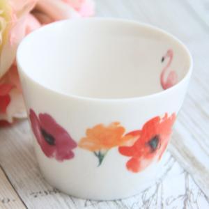 ポーセラーツ お花とフラミンゴのフリーカップ