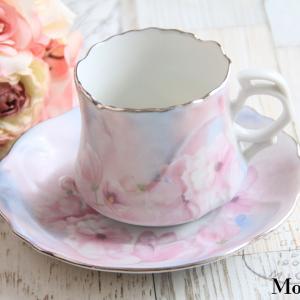 ポーセラーツ イリス絵の具のスポンジングのカップ&ソーサー