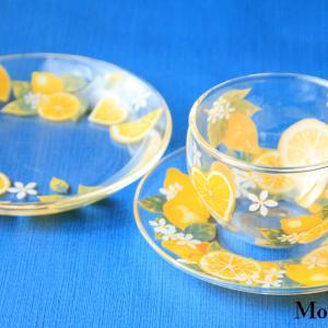 ポーセラーツ レモン柄のガラスカップ&ソーサー