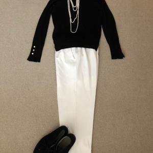 真珠の重ね付けとGUのブーツで夢にまで見る大人数
